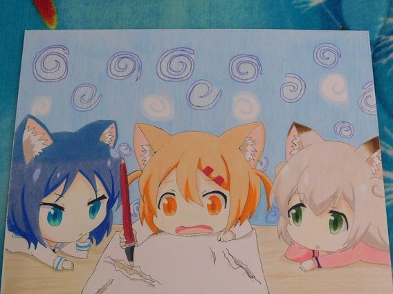 Dibujo Anime Nekos Colores Prismacolor Premier Con Marco