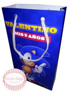 Sonic Bolsitas Personalizadas Golosinera X 10 C/ Cordón