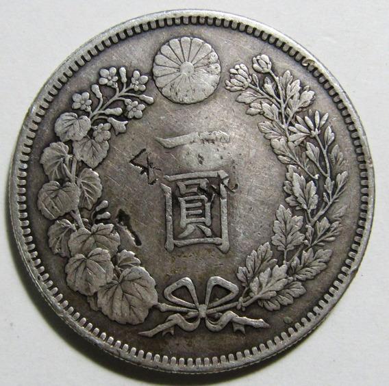 Japon 1 Yen Año 1895 Plata Chop Marks Km# A25 Vf Muy Bien