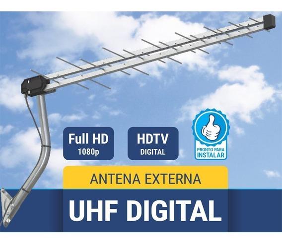 Antena Tv Externa Uhf Digital Hdtv 28 Elementos Potente Log