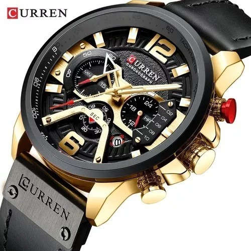 Relógio Masculino Curren 8329 Original Importado Luxo Couro