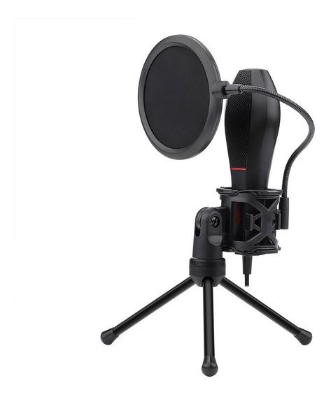 Microfone Gamer Redragon Streamer Quasar Usb C/ Tripé Gm200