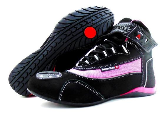 Tênis Em Couro Motociclista Pink Refletivo De Cano Alto 310
