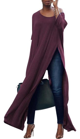 Camiseta Feminina De Um Ombro Longo Com Fenda Alta Batwing 3