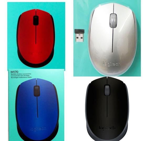4 Mouses S/fio Logitech M170 Wifi Verm/preto/azul/prata