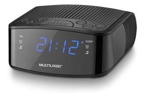 Rádio Relógio Fm Alarme Despertador Display Em Led Azul 24h