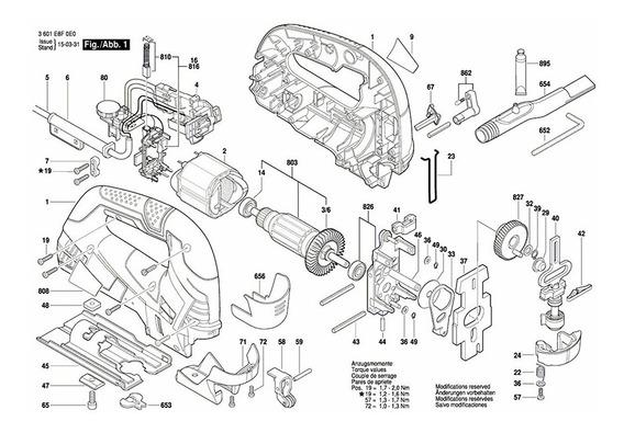 Vista Explodida Tico Tico Gst 90 Be - Bosch 3 601 E8f 0e0