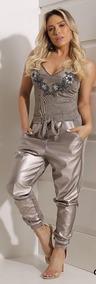 Conjunto Body Bordado E Calça Lurex Perfect Way Tam 38