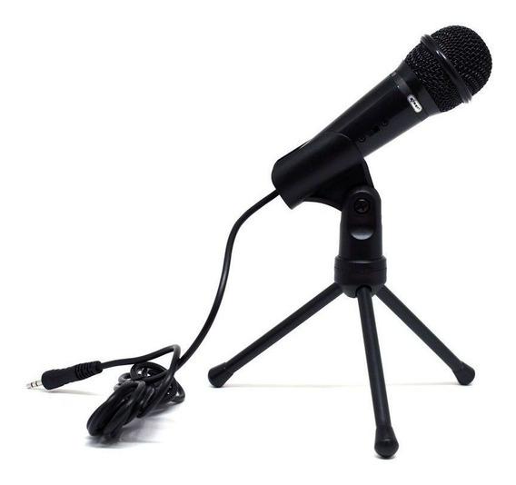 Microfone Condensador Com Tripé P2 Gravação Celular