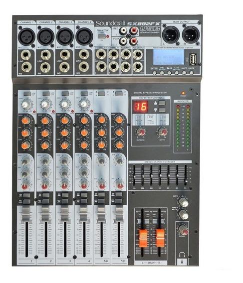 Mesa De Som 8 Canais Soundcraft Sx 802 Fx Usb Sx802fx Usb