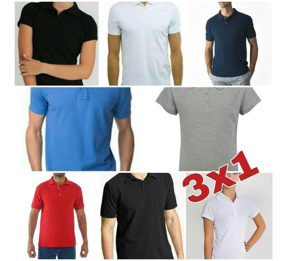 Playera Polo Camisa Basica Unisex Unitalla Slim Fit 3x1 Colo