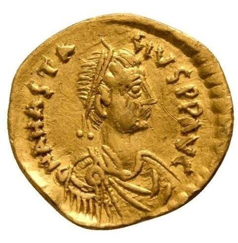 Moeda Bizantina Tremissis Av Ouro Anastasius I 491-518 Dc.