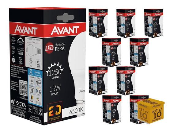 Kit 10 Lampada Led Bulbo 15w Branca Ou Amarela Comercio