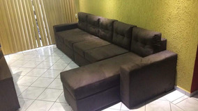 Sofá Suede 4 Lugares + Chaise - 3.20 M