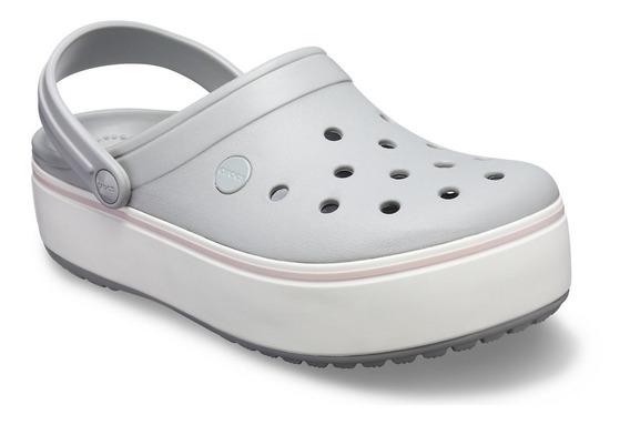 Crocs Sueco Mujer Crocband Plataforma Negro Azul Blanco Gris