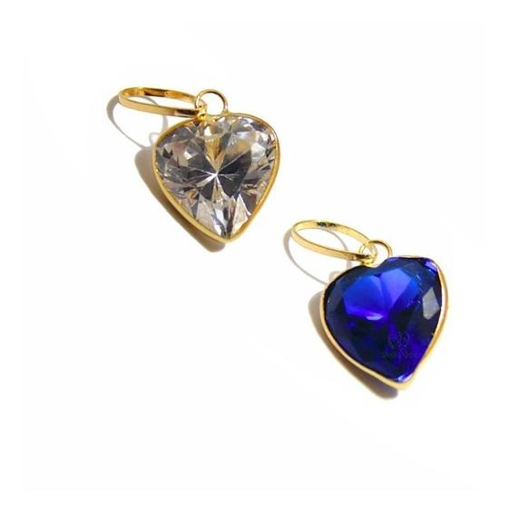 Pingente De Ouro 18k 750 Coração Com Pedra Zircônia 7mm