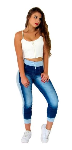 Calça Feminina Jeans Com Moletom Cintura Alta Lycra. Ref:774