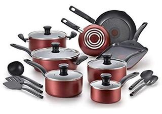 Bateria De Cocina T-fal Color Rojo De 18 Piezas