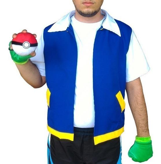 Cosplay Infantil Ash Pokémon - Colete + Luvas - Fantasia