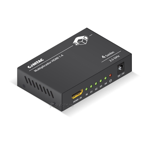 Multiplicador Hdmi 1 P/ 4 Saídas Splitter Switch Comtac 9286
