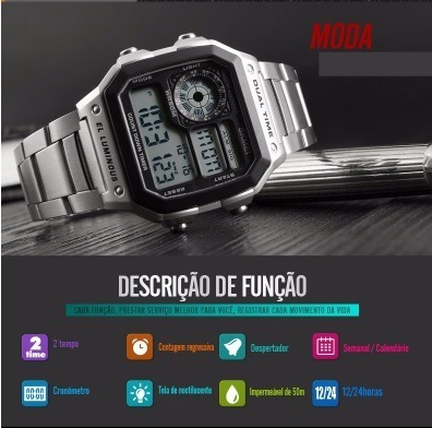 Relógio Masculino Skmei 1335 Prata Aço Inox A Prova D