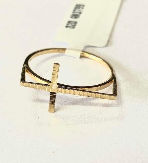 Anel Feminino Cruz Diamantado Ouro 18k 750