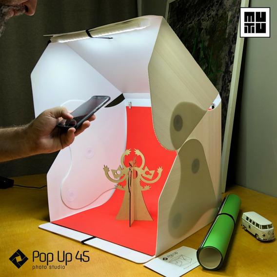 Caixa De Iluminação Para Fotografia De Produtos 45cm Com Led