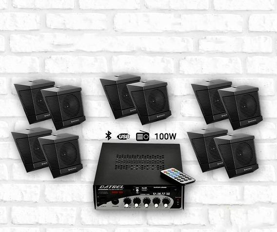 Kit Som Ambiente 1 Amplificador + 5 Pares De Caixas
