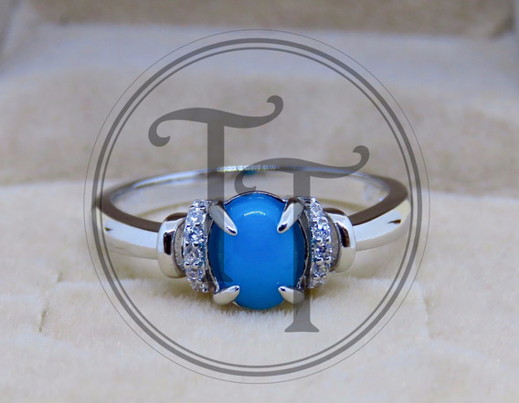 Anillo Ópalo Azul 0.48 Ct Plata Esterlina 925