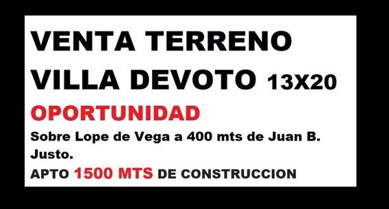 Terreno 13 X 20 Sobre Av Lope De Vega Apto 1500 Mts De Const