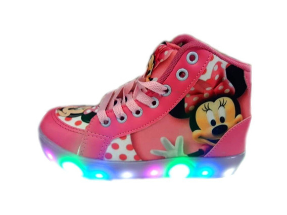 Botinha Infantil Minnie Com Luzes De Led 21 Luzes