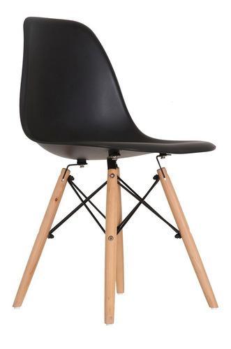 Imagem 1 de 5 de Cadeira Charles Eames Eiffel Wood Dsw Preta