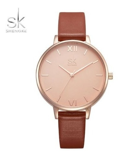Relógio Feminino Inox Casual Pulseira Couro 30m - Marrom