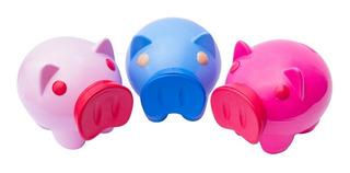 Chancho Alcancía Plástica Ahorrar Decoración Rosa Azul Nueva