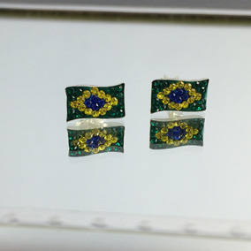 Brinco Feminino Prata Maciça 925 Modelo Bandeira Brasil