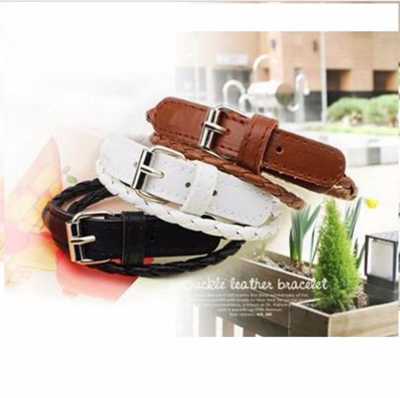 Pulseira Bracelete Feminina Couro Genuíno Kit Com 3 Unidades