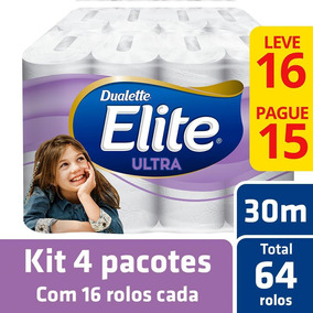 Kit Papel Higiênico Elite Folha Dupla 4 Pacotes - 64 Rolos