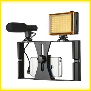Estabilizador + Microfone + Iluminador 96 Led ( Celular )