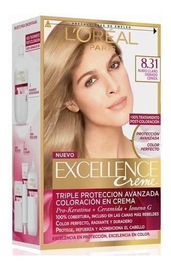 Kit Tintura Excellence Creme 8.31 Rubio Claro Dorado Ceniza