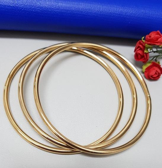 Bracelete Rígido Dourado Em Aço Inoxidável Conjunto 3 Peças