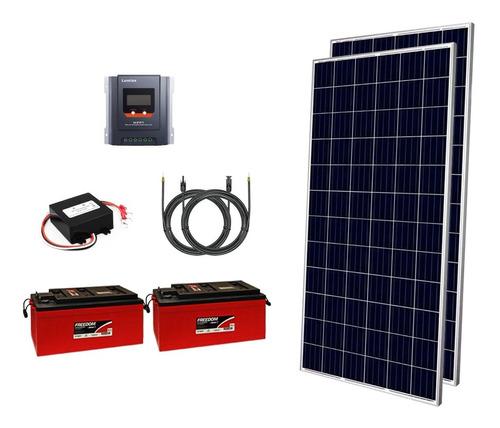 Imagem 1 de 9 de Kit Off Grid 2x Painéis 340w + 2x Baterias 240ah + Mppt 30a