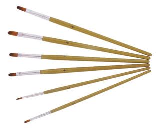 6 Piezas Pinceles Óleo Y Arte Propina Cepillo Nylon Pintura