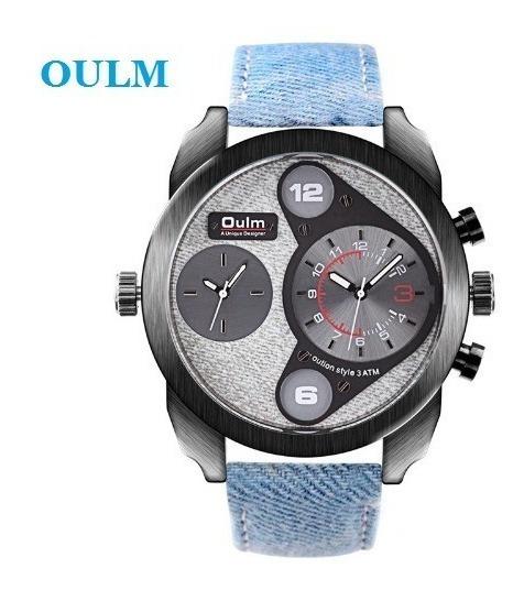 Relógio Pulso Masculino Quartzo Azul Claro Luxo Jeans Oulm