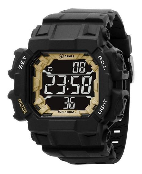 Relógio Masculino Preto E Dourado Quadrado Digital
