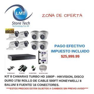 Kit 8 Camaras Turbo Hd 1080p - Hikvision, Disco Duro 1tb Rol