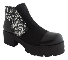 d167eff0 Zapatos Botineta Acordonados Con Plataforma Cuero Andrea Bo ...