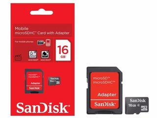 Cartao De Memoria Sandisk 16gb Micro Sd + Adapt Sd Classe 4
