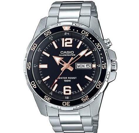 1079d Reloj Orig Mtd 100m Acero Calendario Casio Negro 1a3vd 3j5R4ALq