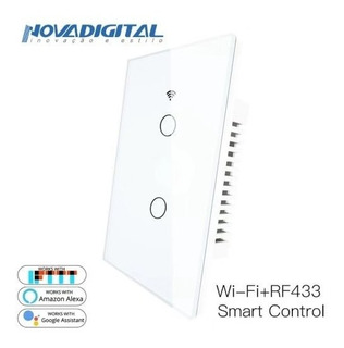 Novadigital Interruptor Touch Led 2 Botões Wifi Rf433 Smart