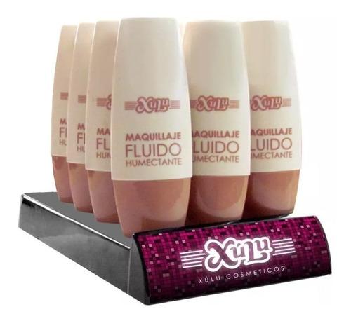 Maquillaje Fluido En Pomo Xúlu Exhibidor X12 Unidades Colore